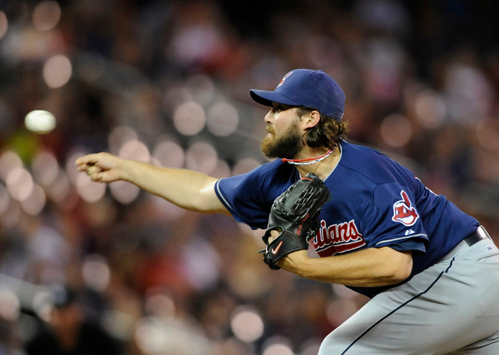. Cleveland closer Chris Perezdelivers a pitch during the ninth inning. (Photo by Hannah Foslien/Getty Images)