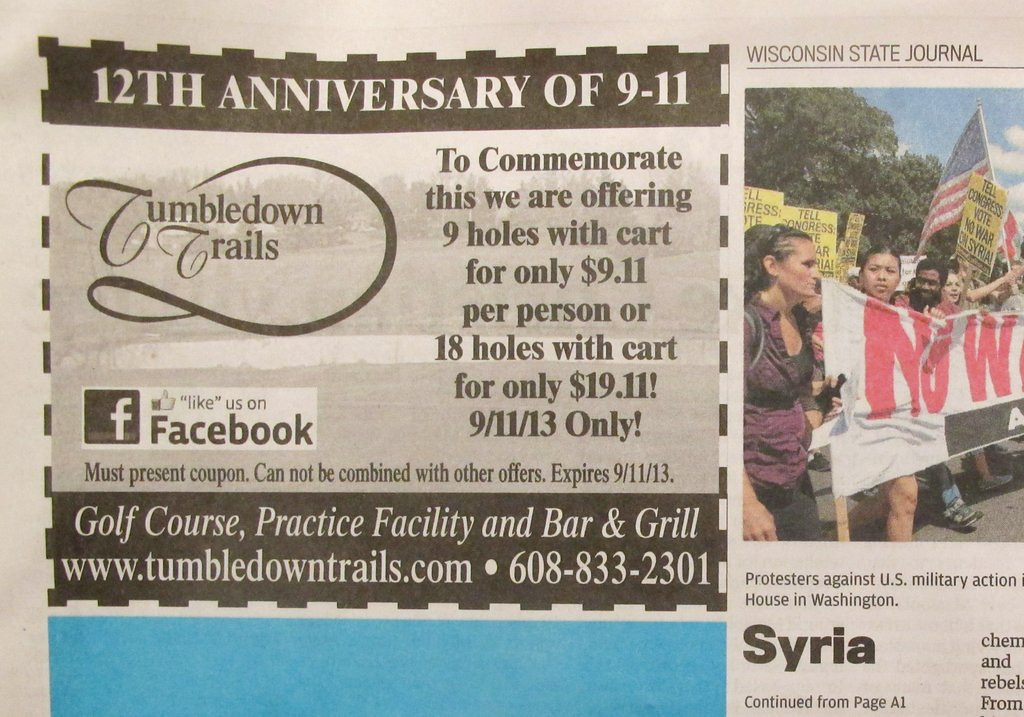 """. <p>3. (tie) TUMBLEDOWN TRAILS <p>Wisconsin golf course�s 9-11 promotion proves once and for all that the terrorists have won. (unranked) <p><b><a href=\'http://deadspin.com/golf-courses-9-11-discount-promotion-goes-real-bad-re-1281574636\' target=\""""_blank\""""> HUH?</a></b> <p>    (AP Photo/Tumbledown Trails via Wisconsin State Journal)"""