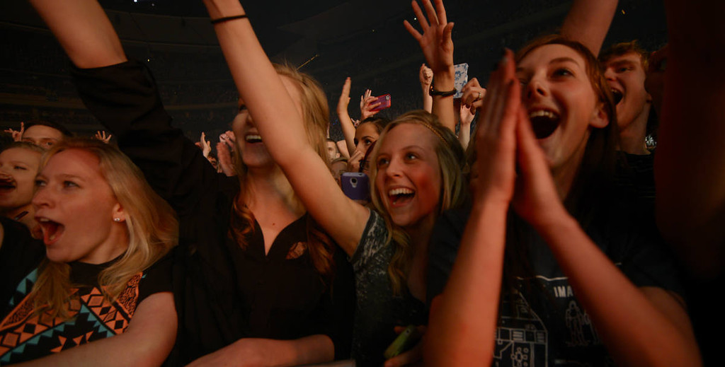 . Fans of Imagine Dragons cheer as the band plays at the Xcel Energy Center in St. Paul on Wednesday, March 12, 2014. (Pioneer Press: John Autey)