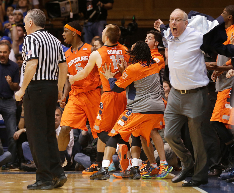 ". <p>7. (tie) JIM BOEHEIM <p>When Syracuse coach gets mad, no jacket can contain him. (unranked) <p><b><a href=\'http://www.usatoday.com/story/sports/ncaab/acc/2014/02/22/college-basketball-syracuse-orange-duke-blue-devils-jim-boeheim/5747167/\' target=""_blank\""> HUH?</a></b> <p>    (AP Photo/Gerry Broome)"