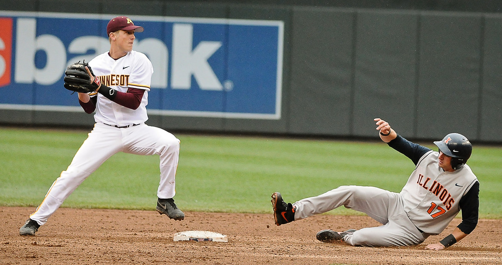 . Illinois baserunner Jordan Parr, is out at second as Minnesota second baseman Connor Schaefbauer tries unsuccessfully to turn a double play in the third inning.  (Pioneer Press: Ben Garvin)