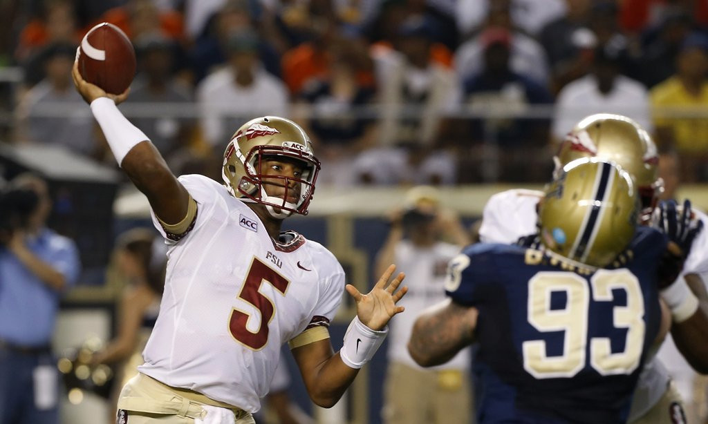 """. <p>7. HEISMAN TROPHY <p>The most over-hyped award on the planet, and now we�re awarding it to 18-year-olds halfway through their first game. (unranked) <p><b><a href=\'http://www.rantsports.com/ncaa-football/2013/09/02/is-florida-state-freshman-qb-jameis-winston-a-darkhorse-for-heisman-trophy/\' target=\""""_blank\""""> HUH?</a></b> <p>    (AP Photo/Keith Srakocic)"""