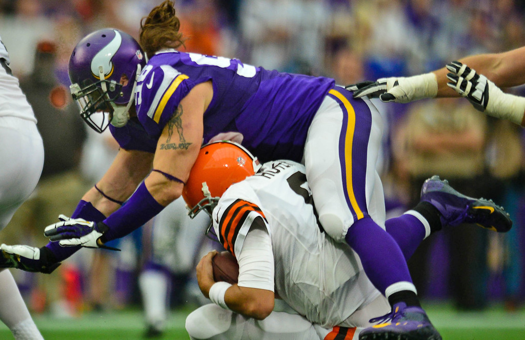 . Vikings defensive end Brian Robison sacks Browns quarterback Brian Hoyer during the fourth quarter.  (Pioneer Press: Ben Garvin)