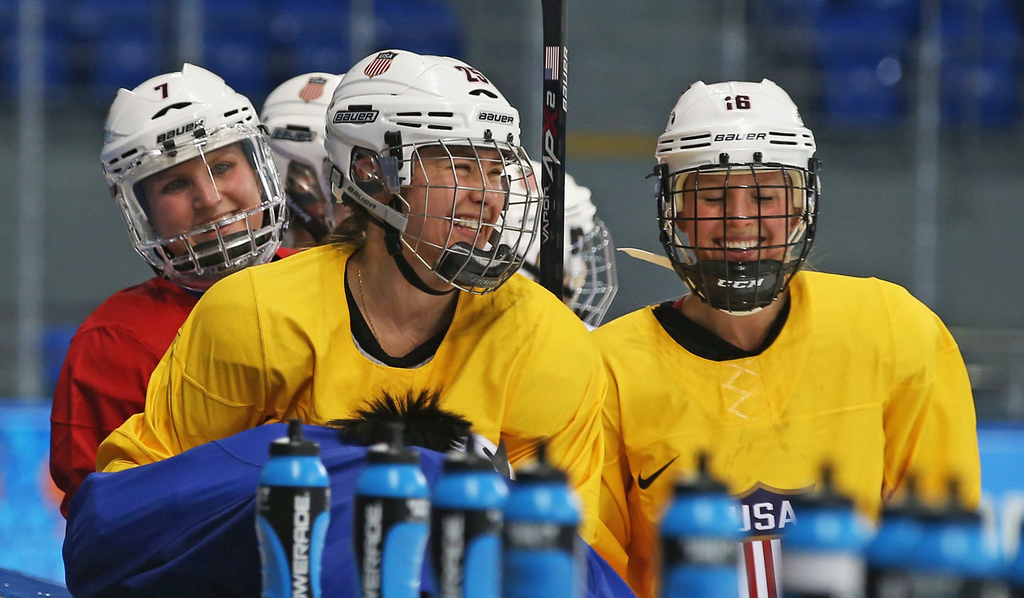 . From left, Monique Lamoureux, Alex Carpenter and Kelli Stack look on during Tuesday\'s practice session.   (Getty Images: Bruce Bennett)