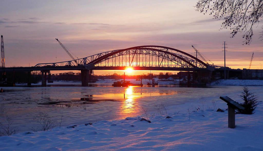 . The Hastings bridges on Ash Wednesday, Feb. 13, 2012.  Photo courtesy of Dave Youngren/Hastings Bridge Watch.