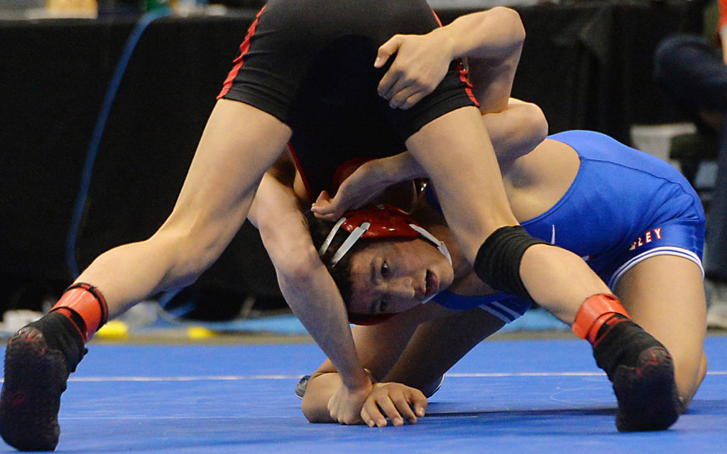 . Simley senior Cortez Arredondo finds himself in a awkward position compliments of Worthington senior Anthony Loft during the class AA 126 pound State Wrestling Championship at the Xcel Energy Center in St. Paul , Saturday, March 1, 2014. Loft would win with a 9-7 decision. (Pioneer Press: John Autey)