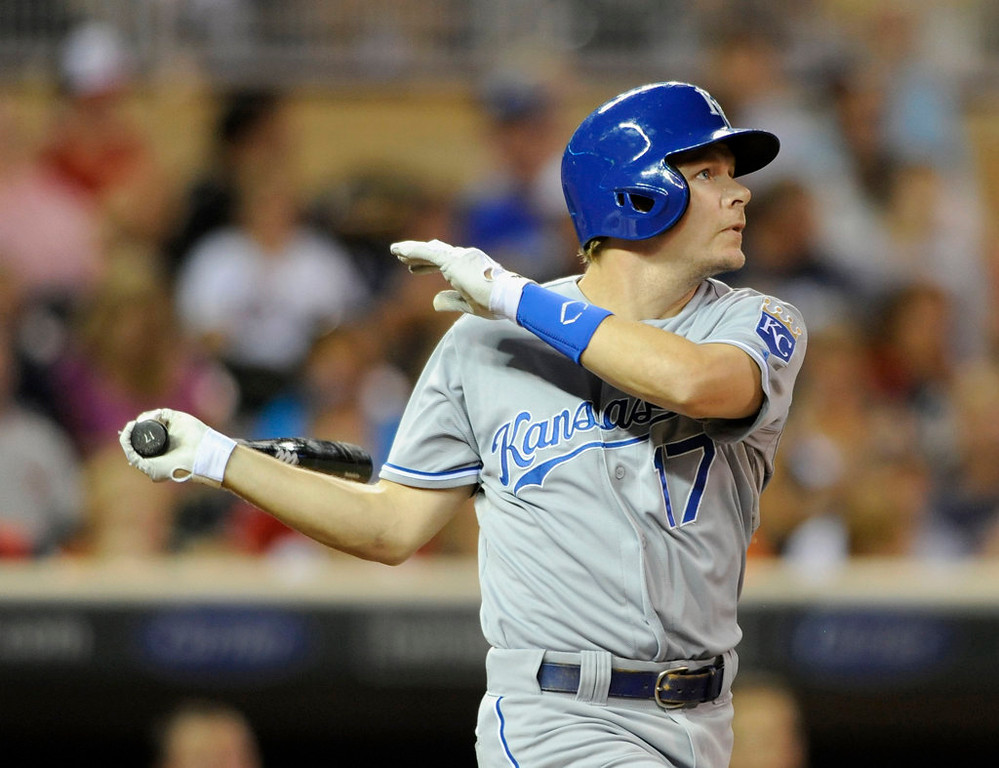 . Chris Getz #17 of the Kansas City Royals hits an RBI single against the Minnesota Twins during the eighth inning of the game on August 27, 2013 at Target Field in Minneapolis, Minnesota. The Royals defeated the Twins 6-1. (Photo by Hannah Foslien/Getty Images)