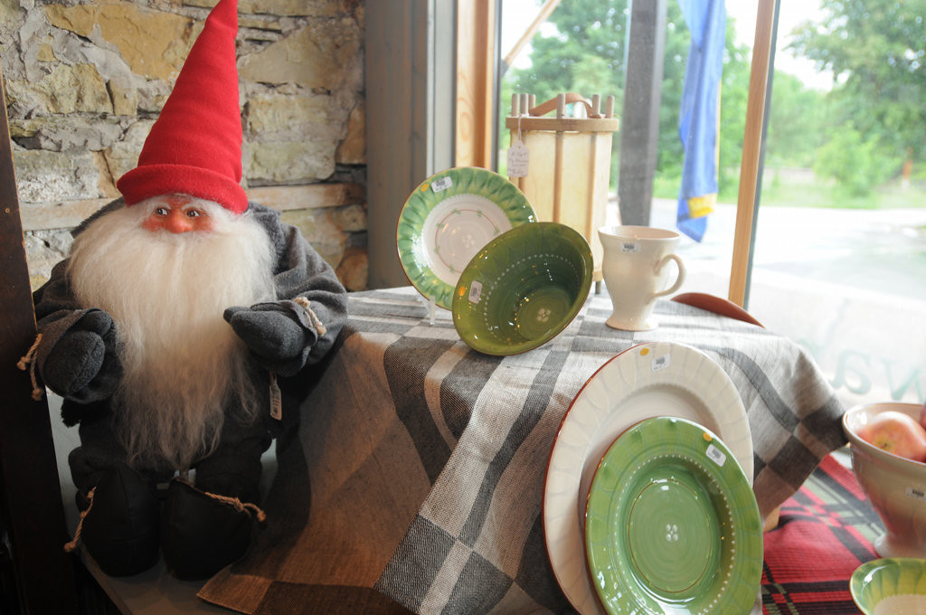 . A Tomte gnome  guards the store front window at Ingerbretsen\'s in Stockholm, Wisconsin where Rattvik china with a Birch Leaf pattern from Sweden is for sale on Wednesday, June 26, 2013. (Pioneer Press: Ginger Pinson)