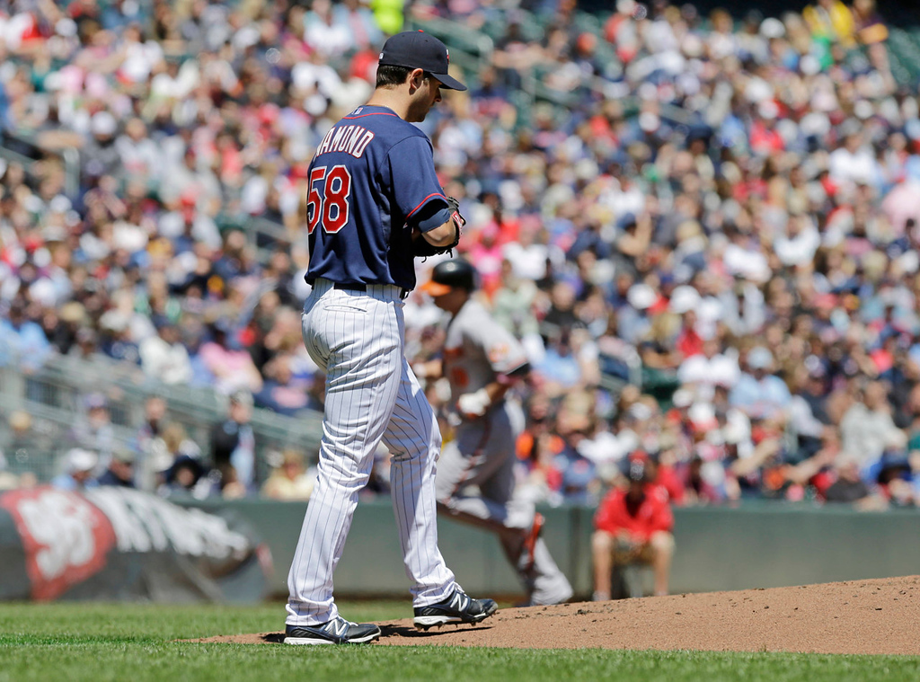 . Twins starter Scott Diamond reacts after giving up a two-run home run to Baltimore\'s Chris Davis in the first inning. (AP Photo/Jim Mone)