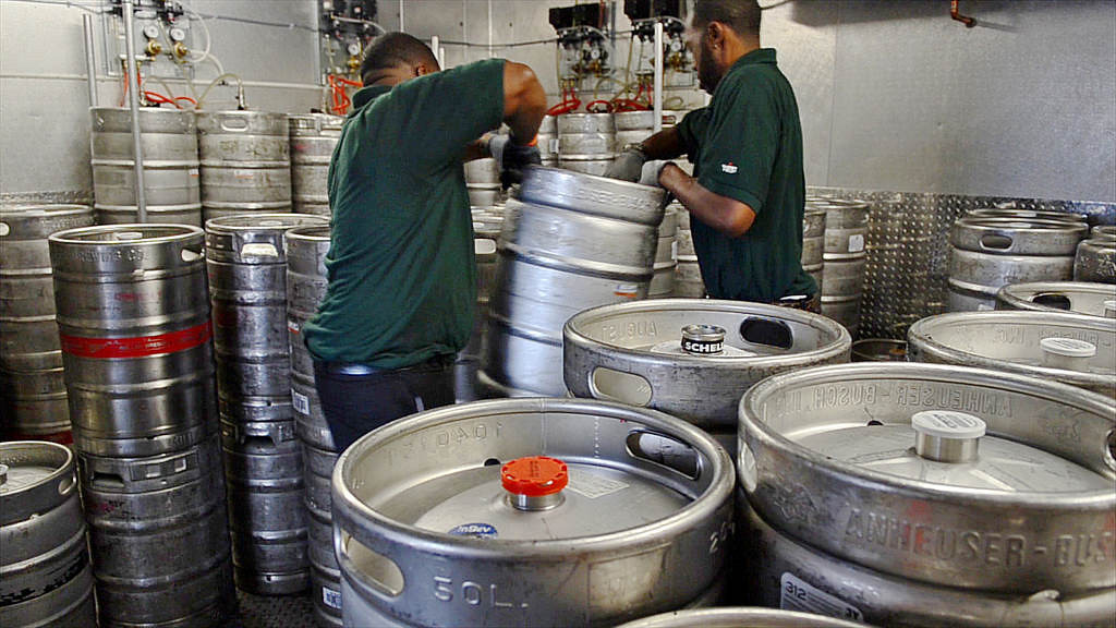 . Commissary staff stack kegs of beer into Keg Room #11, one of 12 keg rooms at Target Field, in preparation for a game. (Pioneer Press: C.J. Sinner)