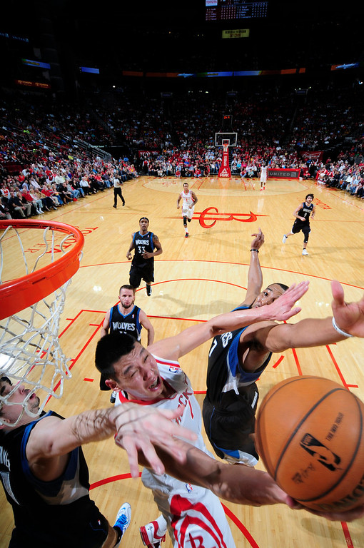 . Jeremy Lin of the Houston Rockets shoots a reverse layup against the Minnesota Timberwolves. (Photo by Bill Baptist/NBAE via Getty Images)