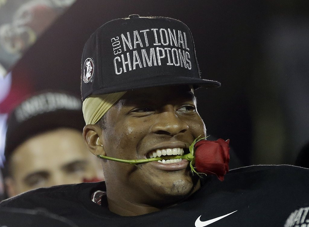 ". <p>3. (tie) JAMEIS WINSTON <p>And you thought his Heisman Trophy speech was bad? (1) <p><b><a href=\'http://www.al.com/sports/index.ssf/2014/01/jameis_winston_ends_state_of_a.html\' target=""_blank\""> HUH?</a></b> <p>    (AP Photo/David J. Phillip)"
