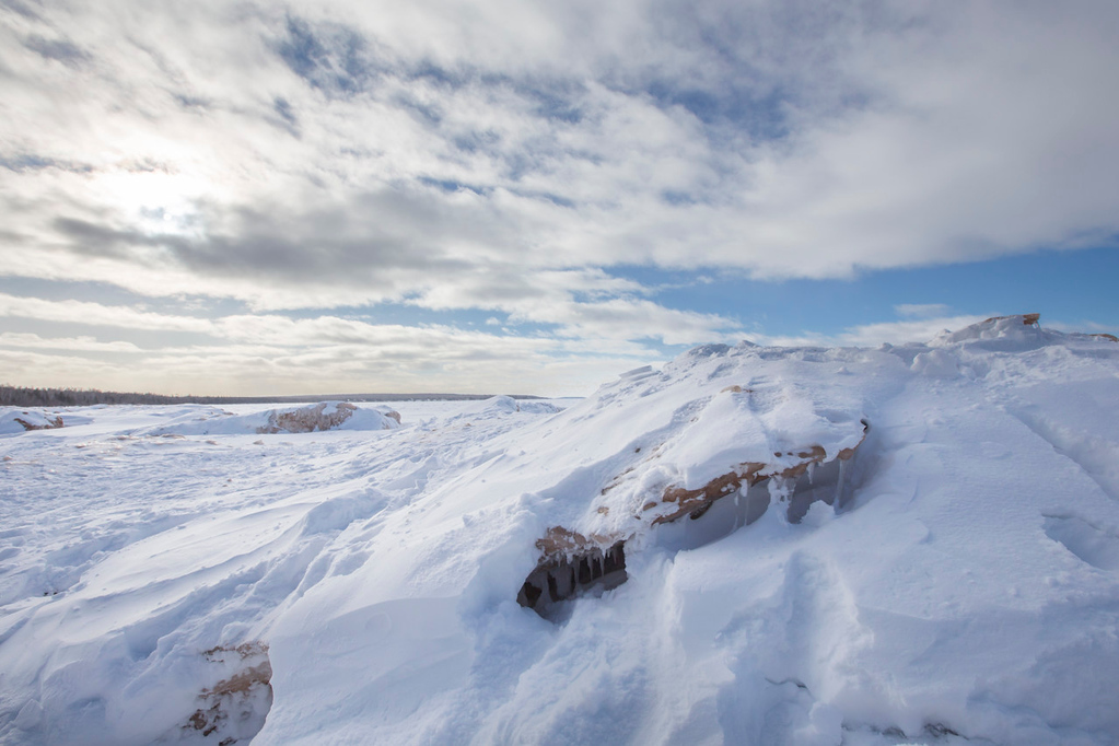 . The ice sheet expands out across Lake Superior\'s Mawikwe Bay.  (Pioneer Press: Andy Rathbun)