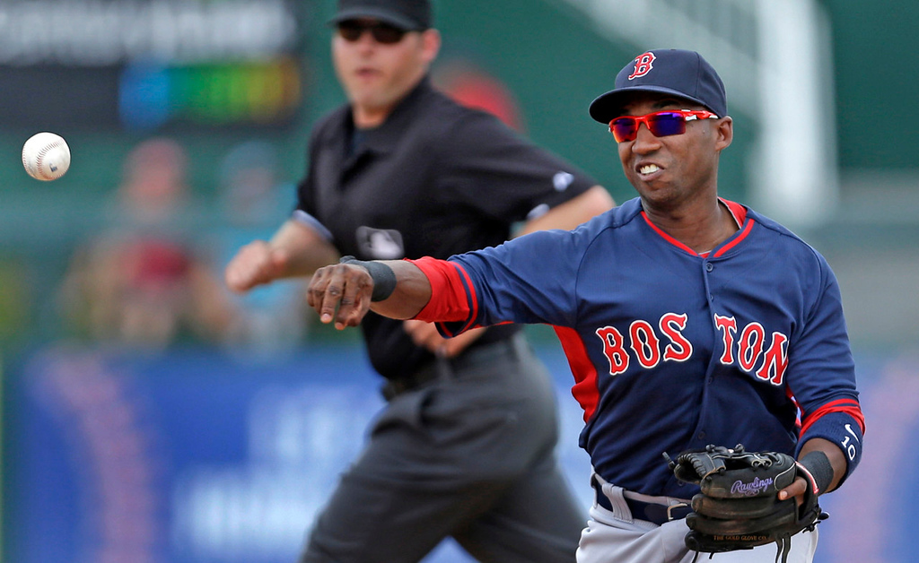 . Boston second baseman Jonathan Herrera throws out Minnesota\'s Eduardo Escobar on a ground out in the second inning. (AP Photo/Gerald Herbert)