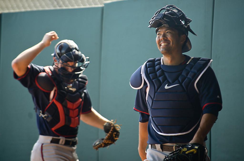 . New Twins catcher Kurt Suzuki cracks up during a bullpen session. (Pioneer Press: Ben Garvin)