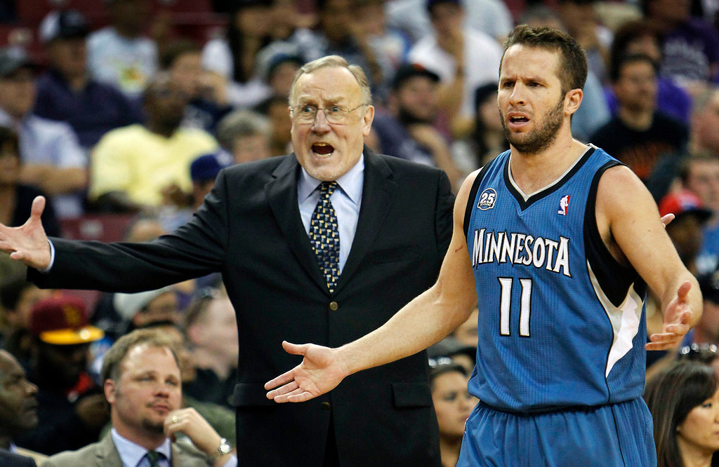 . Minnesota Timberwolves head coach Rick Adelman, left, and guard Jose Barea react to an official\'s call during the second half of an NBA basketball game against the Sacramento Kings in Sacramento, Calif., on Sunday, April 13, 2014. The Kings won 106-103.(AP Photo/Steve Yeater)