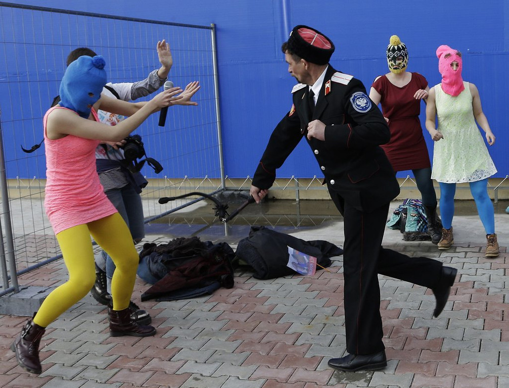 . <p><b>8. PUSSY RIOT </b> <p>Chagrined to learn that the Cossacks whip it. Whip it good. <p>   (AP Photo/Morry Gash)