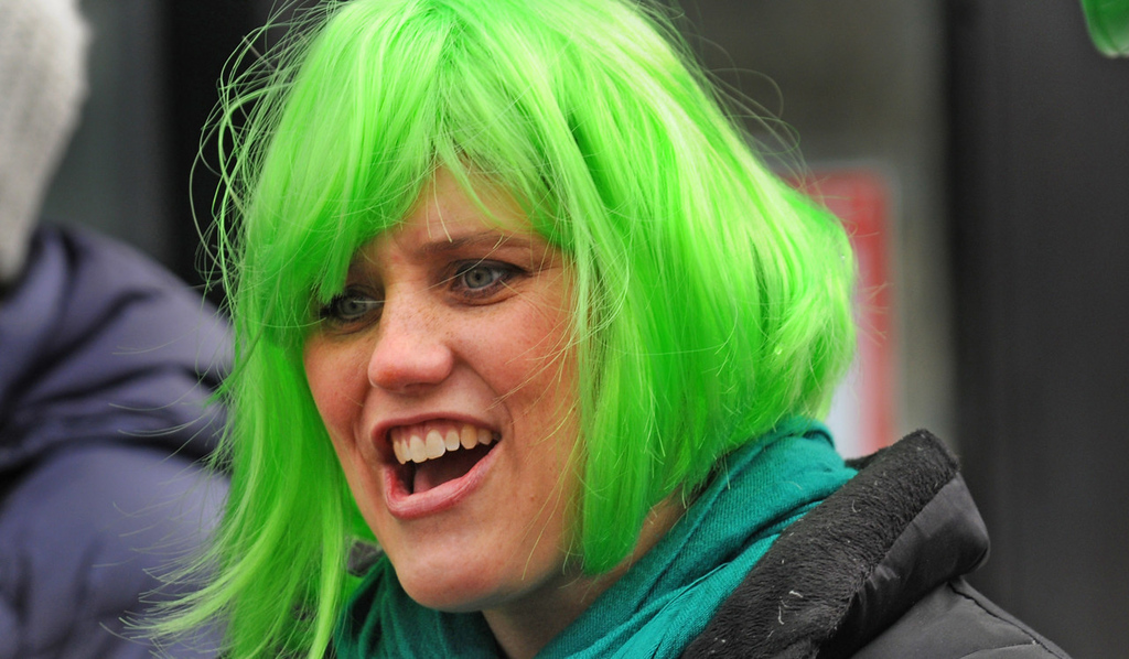 . With the perfect name (and mane), Marilee Green of East Bethel chips in her two cents\' worth the annual St. Patrick\'s Day parade.  (Pioneer Press: Scott Takushi)