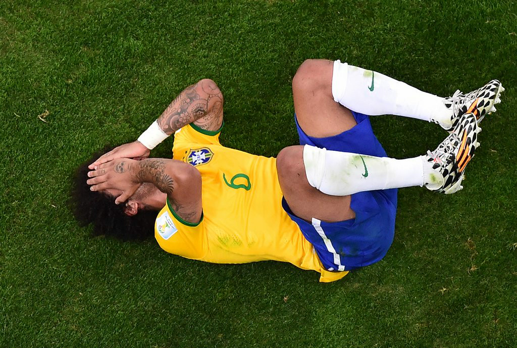 """. <p><b> The Brazilians� 7-1 loss on Monday is the biggest rout pulled off by the Germans since their � </b> <p> A. Rout of Saudi Arabia in 2002  <p> B. Rout of Poland in 1939 <p> C. Rout of the Ottoman Turks in 1683 <p><b><a href=\'http://ftw.usatoday.com/2014/07/brazils-devestating-loss-to-germany-is-the-worst-world-cup-loss-in-history\' target=\""""_blank\"""">LINK</a></b> <p>    (AP Photo/Francois Xavier Marit, Pool)"""