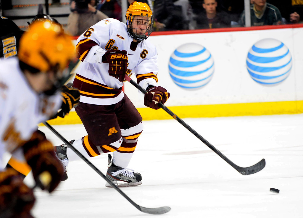 . Jake Parenteau (6) looks to pass during the first period of the WCHA Final Five semifinal against Colorado College at the Xcel Energy Center Arena on March 22, 2013. (Pioneer Press: Sherri LaRose-Chiglo)