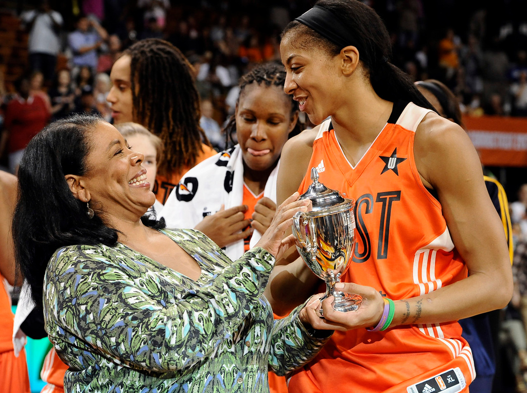 . West\'s Candace Parker, right, of the Los Angeles Sparks, receives the MVP trophy from WNBA President Laurel Richie. (AP Photo/Jessica Hill)