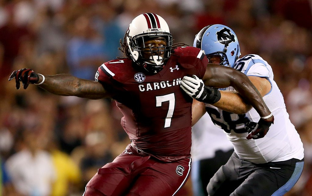 ". <p><b> South Carolina defensive end Jadeveon Clowney was ticketed over the weekend by state police for � </b> <p> A. Speeding 110 mph  <p> B. Driving without a license <p> C. Impersonating a No. 1 draft pick <p><b><a href=\'http://www.usatoday.com/story/sports/ncaaf/2013/12/09/south-carolinas-jadeveon-clowney-gets-110-mph-speeding-ticket/3929441/\' target=""_blank\"">HUH?</a></b> <p>   (Streeter Lecka/Getty Images)"