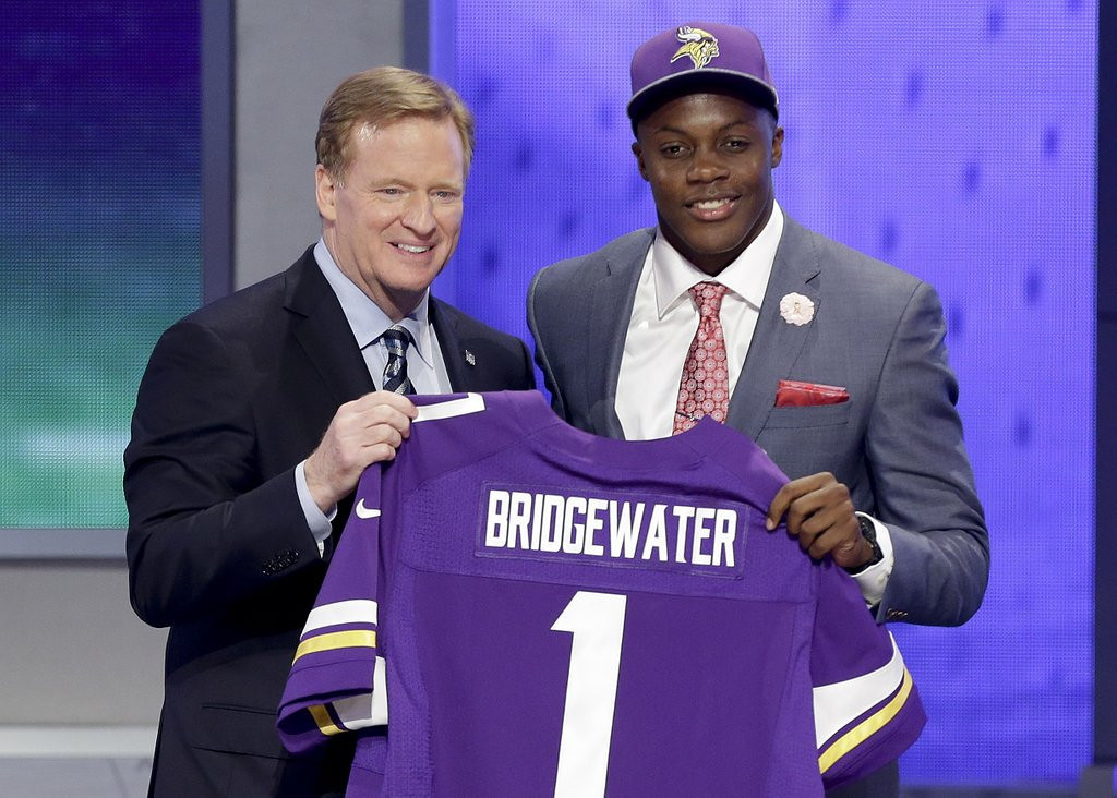 """. <p><b> The NFL draft is over, and it�s readily apparent to most Vikings fans that their quarterback of the future is � </b> <p> A. Teddy Bridgewater <p> B. Matt Cassel <p> C. Inferior to Johnny Manziel <p><b><a href=\'http://www.twincities.com/sports/ci_25726067/vikings-trade-down-take-linebacker-anthony-barr-no?source=pkg\' target=\""""_blank\"""">LINK</a></b> <p>    (AP Photo/Frank Franklin II)"""