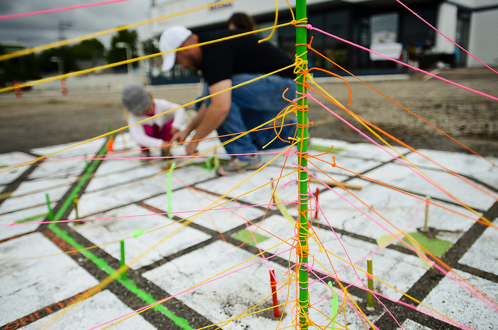 """. Colored yarn served as a rough measure for biking time on this art piece called \""""Mapping the Ave.\"""" (Pioneer Press: Ben Garvin)"""