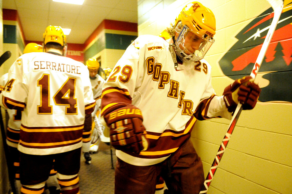 . Minnesota Gophers Nate Schmidt gets ready to take the ice before the start of the game against Colorado College during the WCHA Final Five semifinals at the Xcel Energy Center Arena on Friday, March 22, 2013. (Pioneer Press: Sherri LaRose-Chiglo)