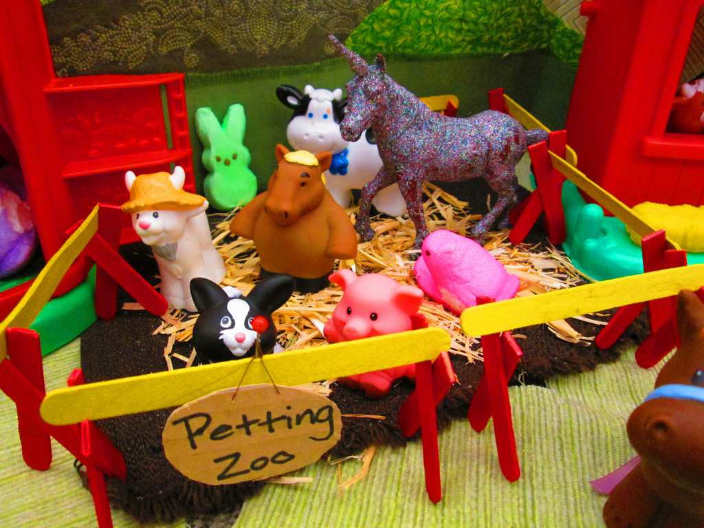 ". ""A Peeps Farm Dinner: Petting Zoo,\"" by April Bogard, Kim Carlton, Angie Cyr, Nicole Koktavy, Sarah Leach, Michelle Messer and Colleen Paulus"