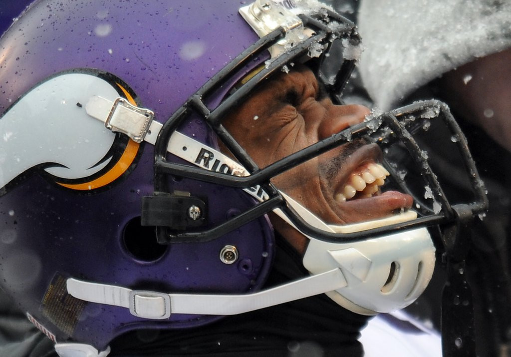 ". <p><b> Vikings fans had their hearts in their mouths Sunday when they saw MVP running back Adrian Peterson knocked out of yet another game by a � </b> <p> A. Sprained foot <p> B. Knee injury <p> C. Snowball <p><b><a href=\'http://www.twincities.com/sports/ci_24692204/baltimore-ravens-john-harbaugh-defends-snowball-throwing-fans\' target=""_blank\"">HUH?</a></b> <p>   (AP Photo/Gail Burton)"