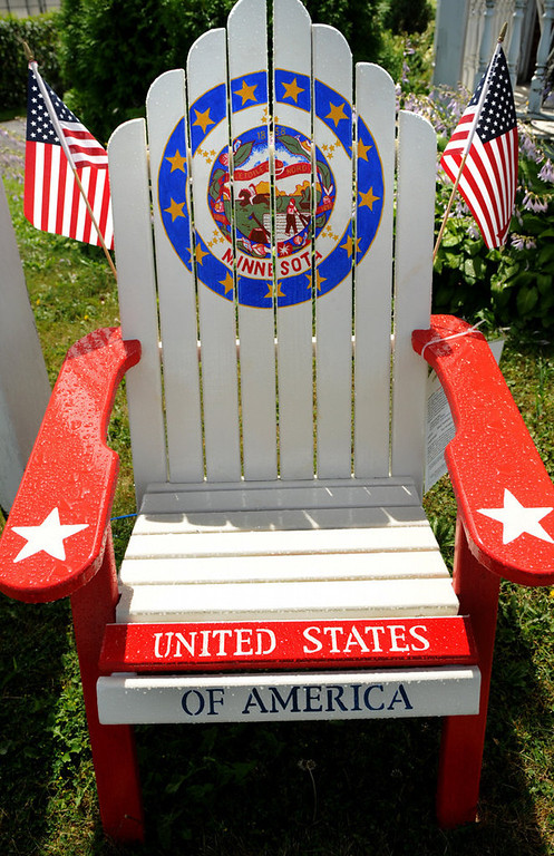 """. A chair titled \""""Star Spangled Flags\"""" by Nancy Radefeldt includes the Minnesota state seal. (Pioneer Press: Jean Pieri)"""