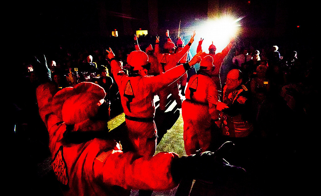 . The Vulcan crew departs after trying to ruin the celebrations at the 128th St. Paul Winter Carnival Royal Coronation on Friday, January 24, 2014.  (Pioneer Press: Ben Garvin)