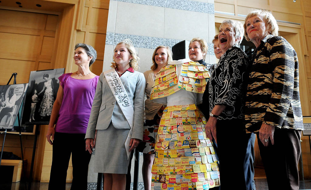 . Princess Kays past and present posed for a photograph with the original butter carton dress. (Pioneer Press: Sherri LaRose-Chiglo)