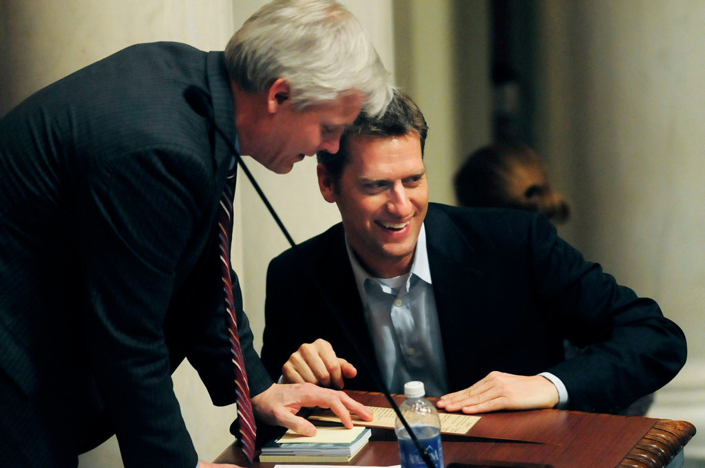 . With the end of the session in sight, Speaker of the House Paul Thissen, DFL-Minneapolis, left, and House Minority Leader Kurt Daudt, R-Crown, share a laugh late in the evening. (Pioneer Press: Scott Takushi)