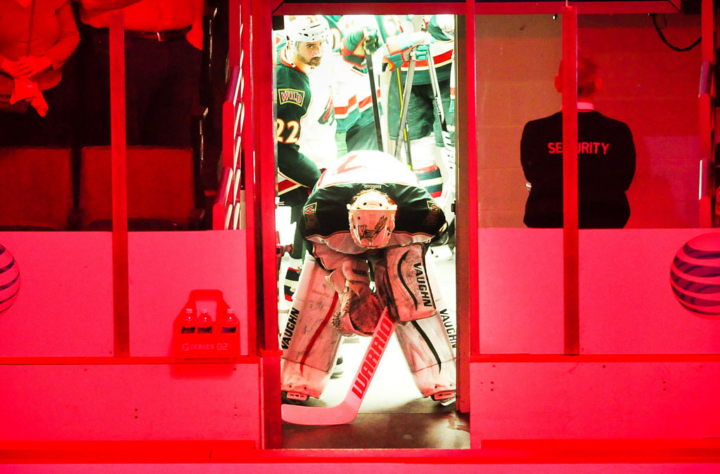 . Wild goalie Josh Harding gets loose in a hurry after replacing starter Niklas Backstrom, who injured himself during warmups prior to Tuesday\'s game.  (Pioneer Press: Ben Garvin)