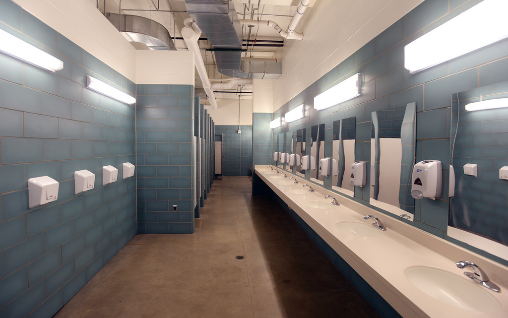. The bathroom area at Higher Ground is lage enough to accomondate the needs of up to 171 men.  (Pioneer Press: Chris Polydoroff)