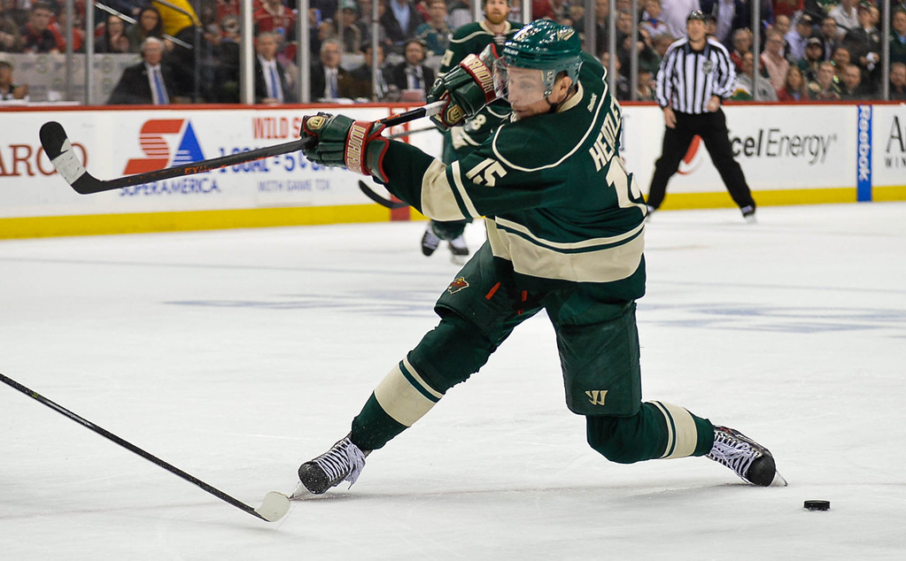 . Wild left wing Dany Heatley shoots and misses during the second period against the Blackhawks. (Pioneer Press: Ben Garvin)
