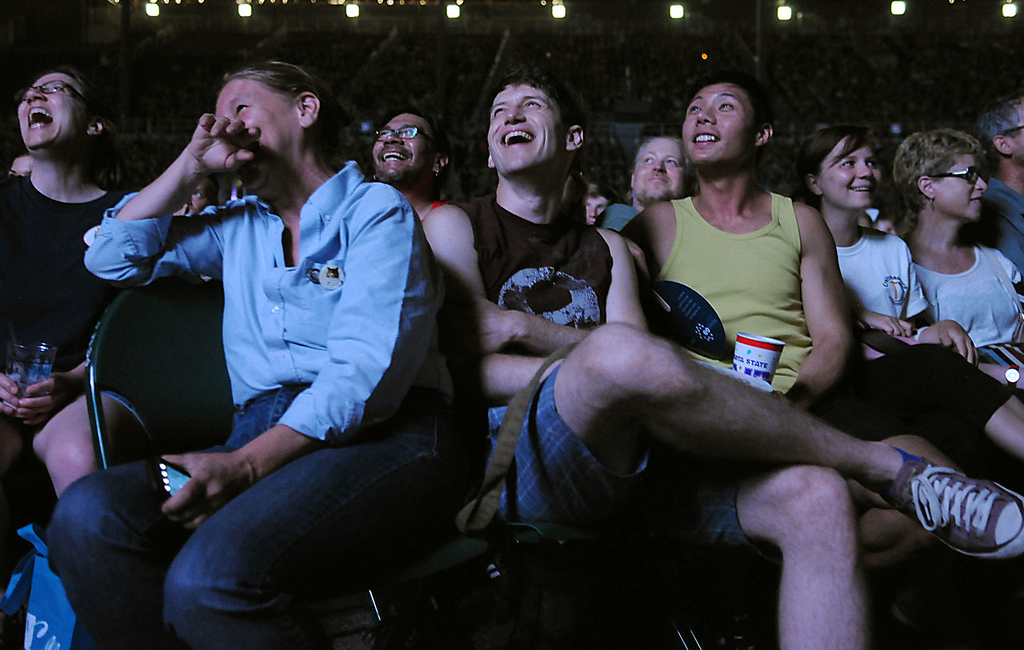 . Cat video fans laugh at a cat video during the 2013 Internet Cat Video Festival presented by Walker Art Center at the Minnesota State Fair Grandstand, Wednesday, August 28, 2013 in Falcon Heights. (Pioneer Press: John Autey)