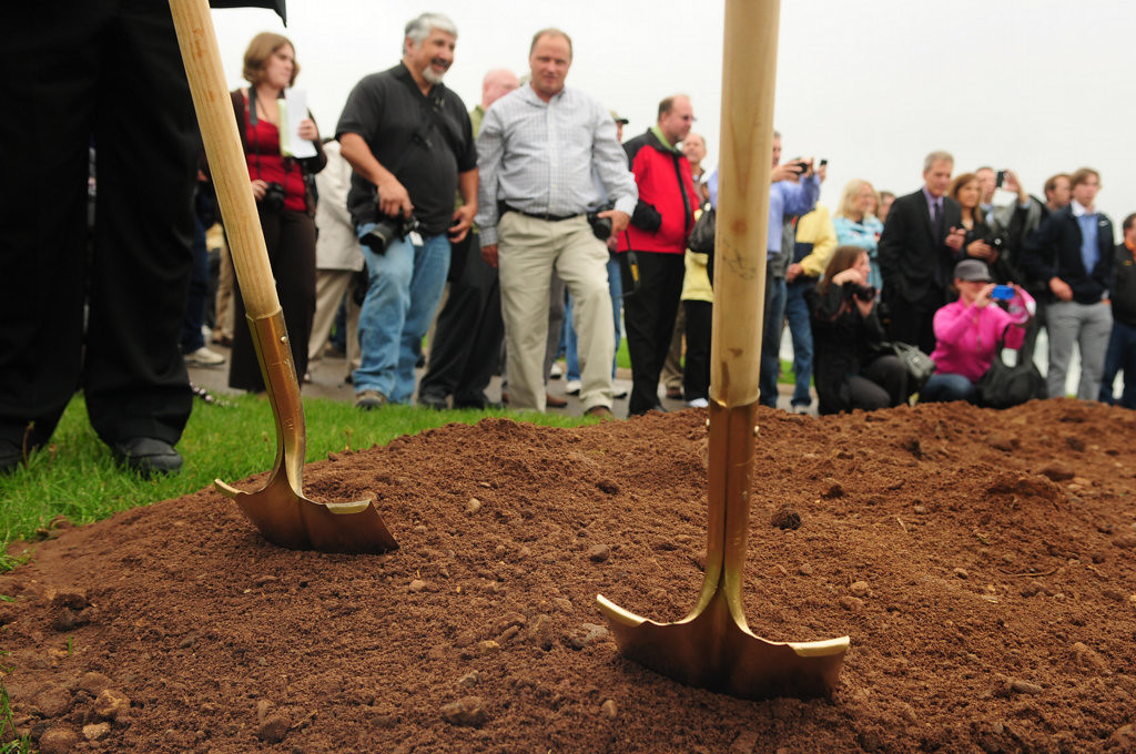 . A crowd gathers at the groundbreaking ceremony.  (Pioneer Press: Scott Takushi)