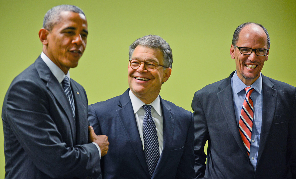 ". ""This is your United States Senator, Al Franken,\"" said President Barack Obama, who appeared with Franken and U.S. Secretart of Labor Thomas Perez, right, during a visit to a Workforce Center to speak with students in North Minneapolis on Friday, June 27, 2014. (Pioneer Press: Ben Garvin)"