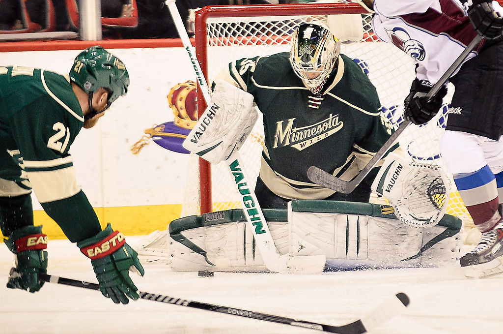 . Minnesota Wild goalie Darcy Kuemper makes a save during the third period. (Pioneer Press: Ben Garvin)