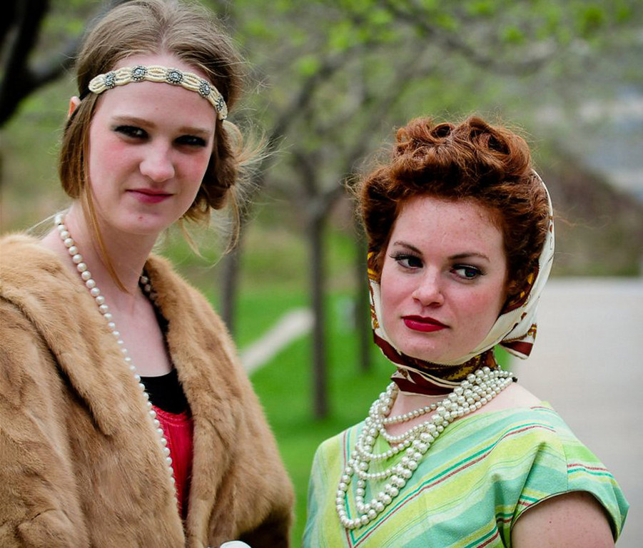 . �I love everything vintage and made the dress myself,� said Jeanie Mendenhall, right, who traveled from Greenfield, Minn., for the event. With her is Kelsey Gunn of St. Michael, who said her fringe dress came from a family friend.  (Pioneer Press: Ben Garvin)