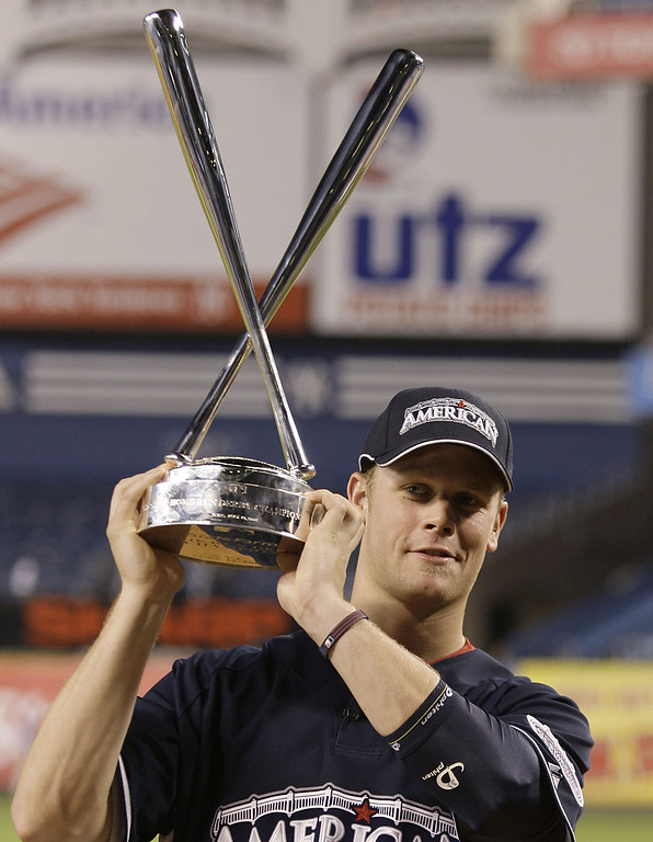. The Twins\' Justin Morneau poses with the trophy after winning baseball\'s All-Star Home Run Derby at Yankee Stadium in New York on Monday, July 14, 2008. (AP Photo\\Kathy Willens)