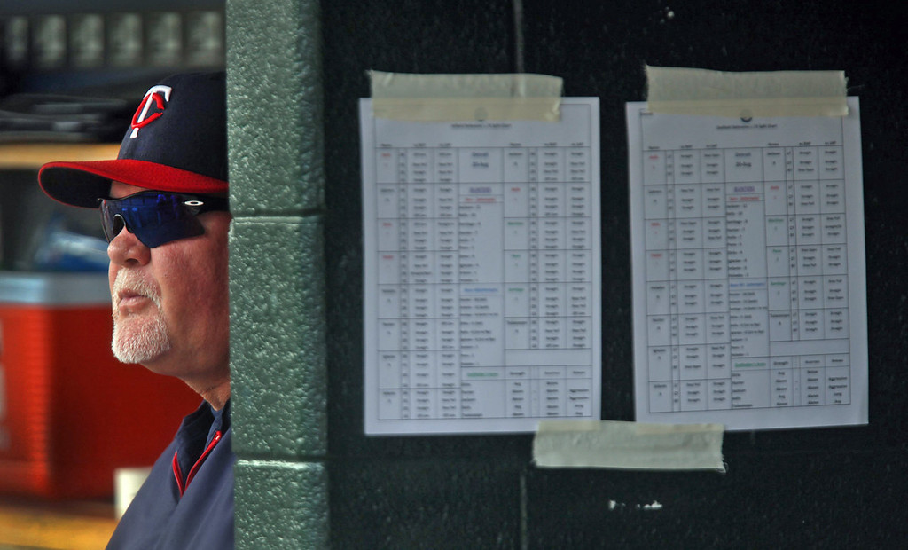 . Twins manager Ron Gardenhire watches the progress of his team from the dugout during their game against the Tigers. (Diane Weiss/Detroit Free Press/MCT)