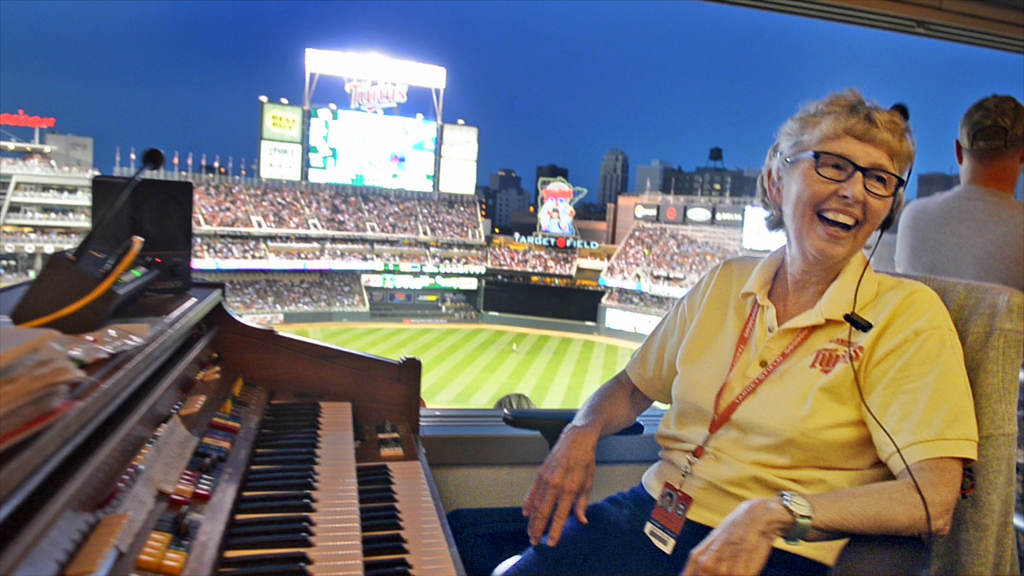 . Target Field organist Sue Nelson takes a break from tickling the ivories in the seventh inning to chat with patrons in the 2 Gingers Lounge. (Pioneer Press: C.J. Sinner)