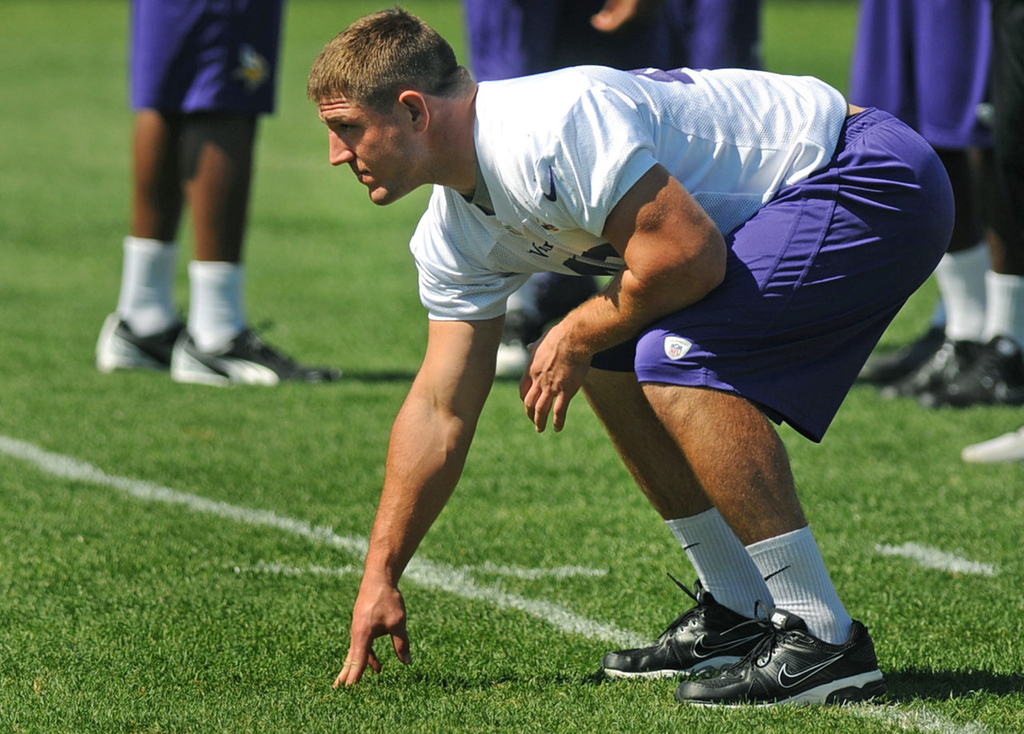 . Vikings fullback Zach Line readies for a snap at the morning walk-through practice.  (Pioneer Press: Chris Polydoroff)