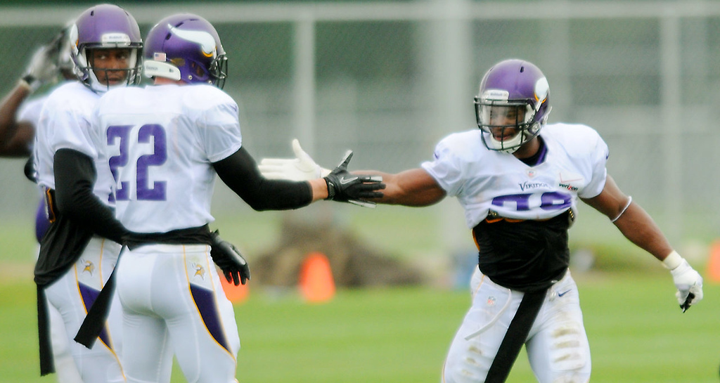 . Safety Jamarca  Sanford, right, congratulates safety Harrison Smith (22) after Smith made a good play.  (Pioneer Press: John Autey)