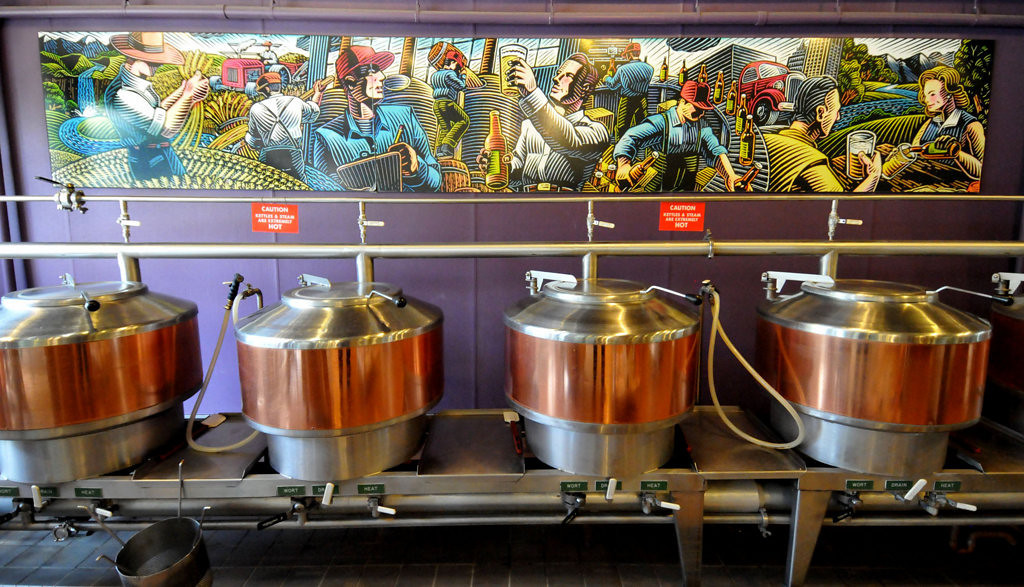 . Brewing kettles are seen at Vine Park Brewery on West Seventh Street in St. Paul.  (Pioneer Press: John Doman)