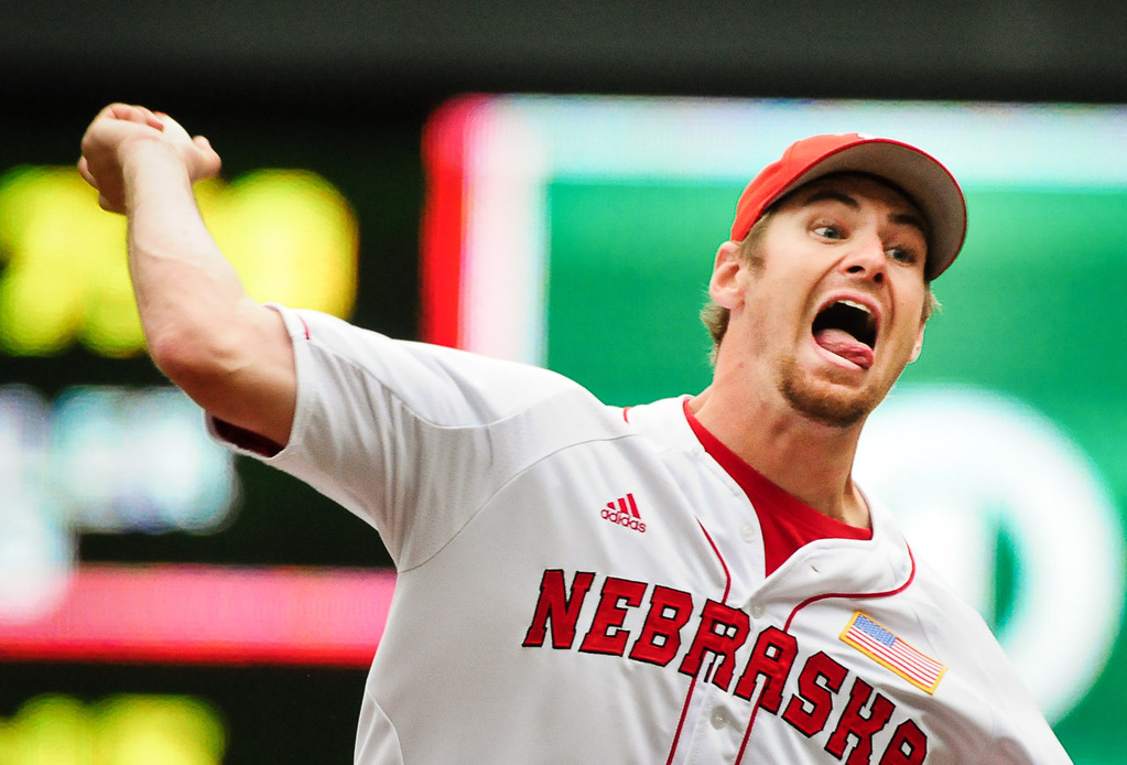 . Nebraska pitcher Ryan Hander lets a pitch loose in the fourth inning. (Pioneer Press: Ben Garvin)